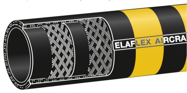 Elaflex 'Yellow-Band' Statically Bonded (ATEX), Cloth Reinforced Aviation Fuel Hose